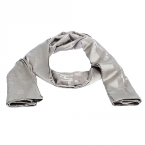 Hermès Grey Silk Wool Jacquard Façonnée Grand H Scarf