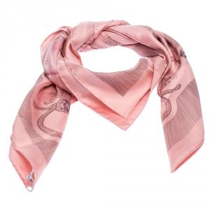 Hermes Rose Etude Pour Une Parure De Gala Print Silk Scarf