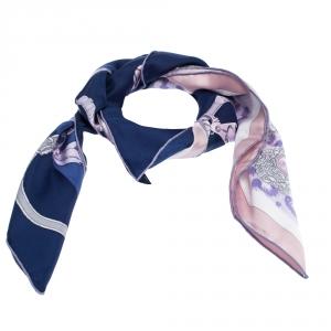 Hermes Blue Plumets Du Roy Print Silk Scarf