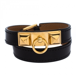 Hermes Rivale Black Leather Gold Plated Double Tour Bracelet XS