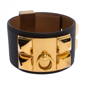 Hermès Collier De Chien Graphite Grey Leather Gold Plated Wide Cuff Bracelet S