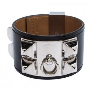 Hermes Collier De Chien Black Leather Palladium Plated Wide Cuff Bracelet S