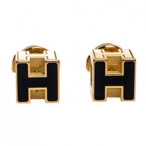 Hermes Cage d'H Black Lacquer Yellow Gold Plated Stud Earrings