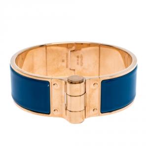 Hermes Blue Enamel Gold Plated Hinged Cuff Bracelet