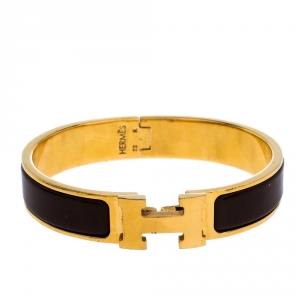 Hermes Clic H Brown Enamel Gold Plated Narrow Bracelet PM