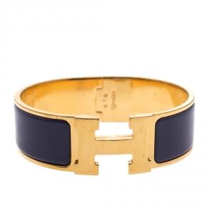 Hermès Clic Clac H Iris Purple Gold Plated Wide Bracelet GM
