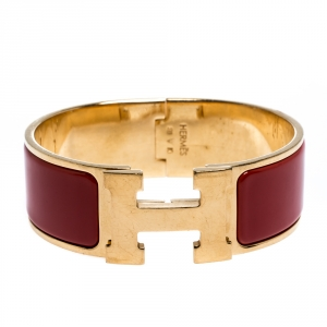 Hermès Clic Clac H Rouge Amarante Gold Plated Wide Bracelet PM