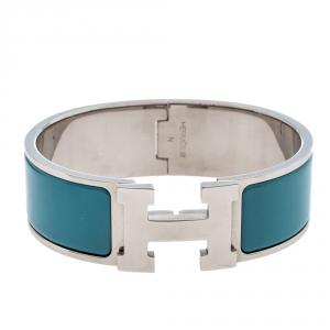 Hermès Clic Clac H Blue Enamel Palladium Plated Wide Bracelet GM