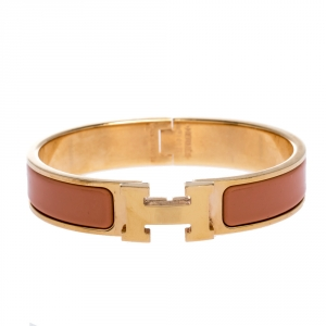 Hermes Clic H Peach Pink Enamel Gold Plated Narrow Bracelet PM