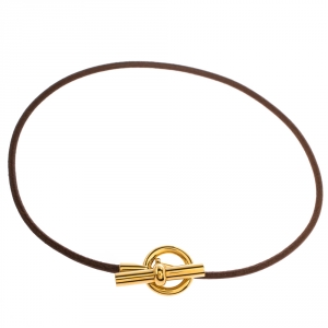 Hermes Glenan Brown Leather Gold Tone Toggle Choker Necklace