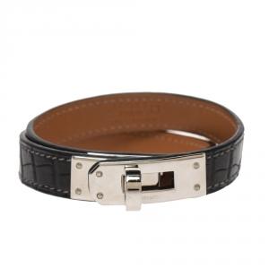 Hermes Kelly Double Tour Black Exotic Leather Palladium Plated Bracelet S