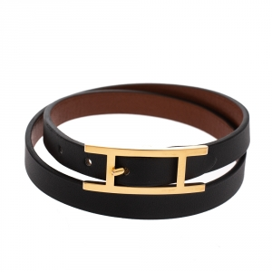 Hermes Behapi Black Leather Gold Plated Double Tour Reversible Bracelet M