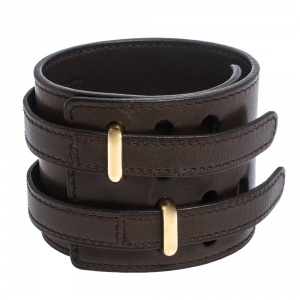 Hermes Brown Leather Gold Plated Wide Cuff Adjustable Bracelet