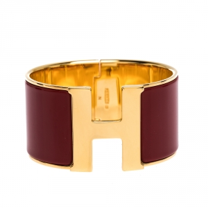 Hermes Clic H Red Enamel Gold Plated Extra Wide Bracelet