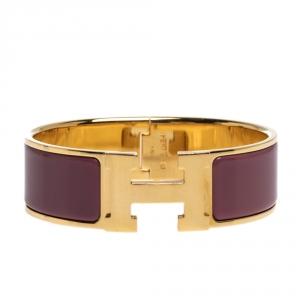 Hermes Clic Clac H Mauve Enamel Gold Plated Wide Bracelet GM
