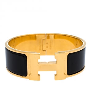 Hermes Clic Clac H Black Enamel Gold Plated Wide Bracelet PM