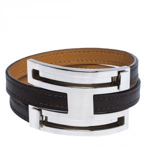 Hermes Pousse Pousse Brown Leather Palladium Plated Adjustable H Bracelet