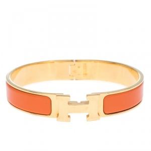 Hermes Clic H Orange Enamel Gold Plated Narrow Bracelet GM