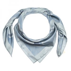 Hermes Brittany Blue Etude Pour Une Parure De Gala Silk Twill Square Scarf
