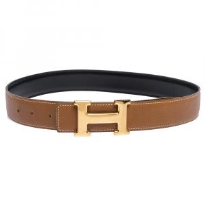 Hermes Marron d'Inde Epsom Leather Constance Reversible Belt 75CM