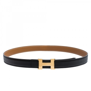 Hermes Black/Brown Swift and Epsom Leather Reversible Mini Constance Buckle Belt Size 95CM