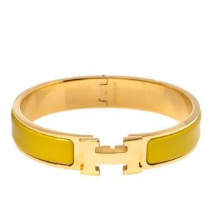 Hermes Clic H Yellow Enamel Gold Plated Narrow Bracelet