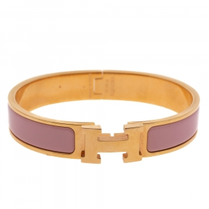 Hermes Clic H Rose Dragee Enamel Gold Plated Narrow Bracelet PM