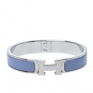 Hermès Clic H Enamel Palladium Plated Narrow Bracelet GM