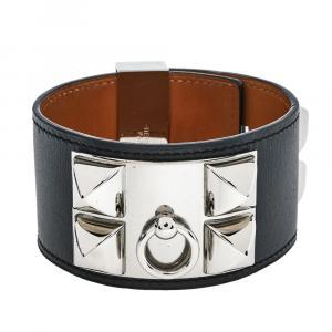 Hermes Collier De Chien Black Leather Palladium Plated Wide Cuff Bracelet L