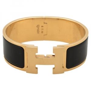 Hermes Clic Clac H Black Enamel Gold Plated Bracelet PM