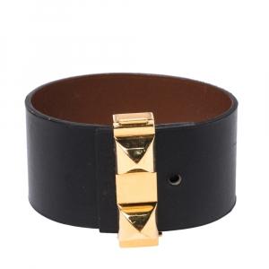 Hermès Bicolor Leather Gold Plated Illusion Bracelet