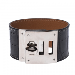 Hermès Black Alligator Leather Kelly Dog Cuff Bracelet