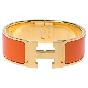 سوار هيرمس كليك كلاك إتش إيناميل برتقالي مطلي ذهبي عريض مقاس صغير - سمول