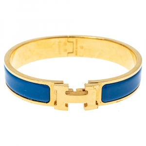 Hermes Clic H Blue Enamel Gold Plated Narrow Bracelet GM