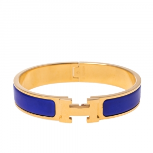 Hermès Clic H Blue Enamel Gold Plated Narrow Bracelet PM