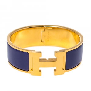 Hermès Clic Clac H Purple Enamel Gold Plated Wide Bracelet PM