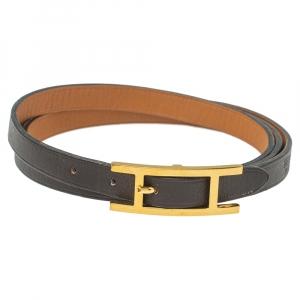 Hermes Hapi 3 Brown Leather Gold Plated Wrap Bracelet