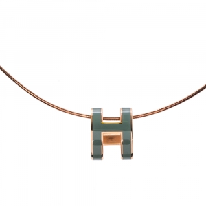 Hermès Pop H Teal Lacquered Gold Plated Pendant Necklace