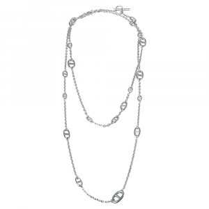 Hermes Farandole Silver Long Chain Link Station Toggle Necklace