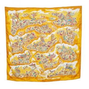 Hermès Yellow Silk Nuees Imaginaires Silk Scarf