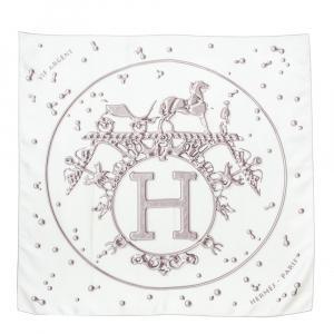 Hermès Cream & Grey Vif Argent Silk Scarf