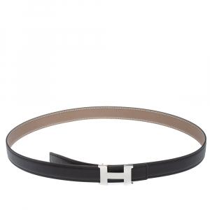 Hermes Black/Etoupe Swift and Epsom Leather Reversible Constance Belt 90 CM