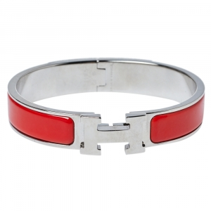 Hermès Clic H Coral Red Enamel Palladium Plated Narrow Bracelet PM