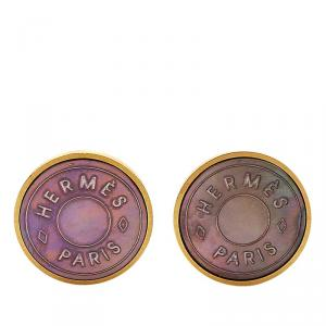 Hermès Mother of Pearl Inlay Gold Plated Round Clip-on Stud Earrings