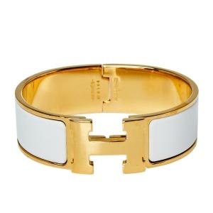 Hermès Clic Clac H White Enamel Gold Plated Wide Bracelet