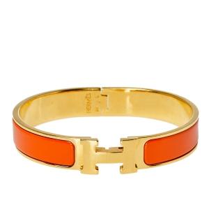 سوار هيرمس كليك إتش إيناميل برتقالي ذهبي اللون رفيع PM