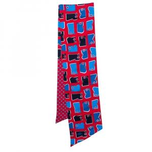 Hermès Red & Blue Camails Silk Maxi Twilly