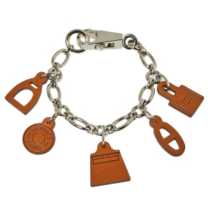 Hermes Brown Barenia Breloque Olga Amulette Bag Charm MM