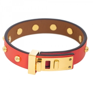 Hermes Orange Leather Gold Plated Mini Dog Clous Ronds Bracelet Size T2