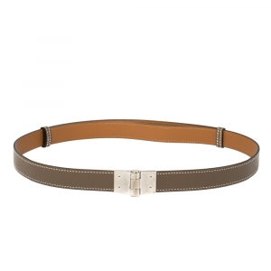 Hermes Taupe Grey Epsom & Swift Leather Charniere Adjustable Belt